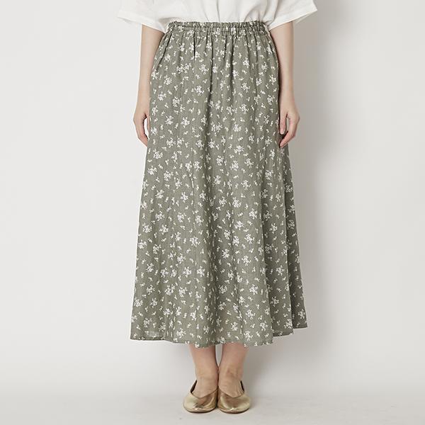 n.o.f.l/リネン花柄スカート