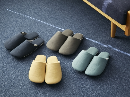ABE HOME SHOES/脱げにくい綿麻のスリッパ M